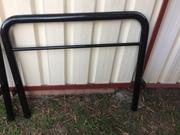 Solid Steel frame single beds x 2,  timber slats,  mattresses & bedding