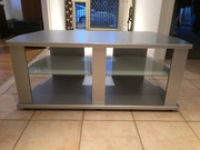Television cabinet,  silver painted timber,  glass shelves