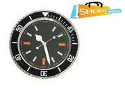 Submariner Wall Clock Chrome Steel Sport Designer Home Decor