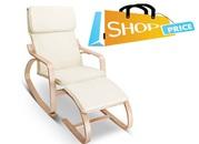 Birch Plywood Fabric Lounge Rocking Chair
