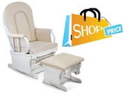 Baby Breast Feeding Sliding Glider Chair w Ottoman White Beige