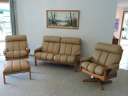 Leather lounge suite 4 piece one year old