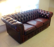 GENUINE,  HAND MADE,  LEATHER MORAN-HAMPSHIRE,  3 SEATER CHESTERFIELD