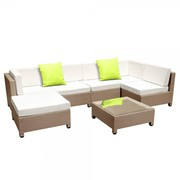 5 pcs Brown Wicker Rattan 4 SeaterSet Beige-Outdoor furniture sale